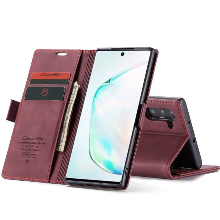 Кожаный чехол CaseMe-013 Multifunctional на Samsung Galaxy Note 10- винно-красный