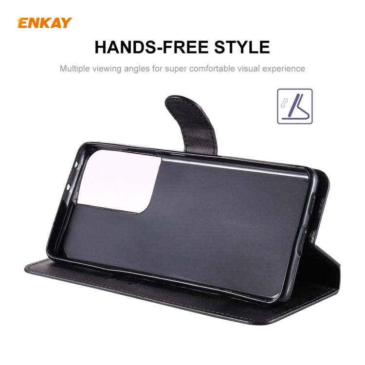 Черный чехол-книжка со слотами ENKAY на Samsung Galaxy S21 Ultra
