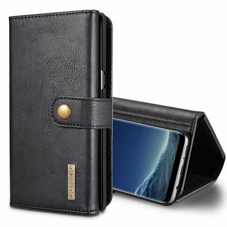 Кожаный чехол-кошелек DG.MING Triple Fold Crazy Horse Texture на Samsung Galaxy S8+ / G955- черный