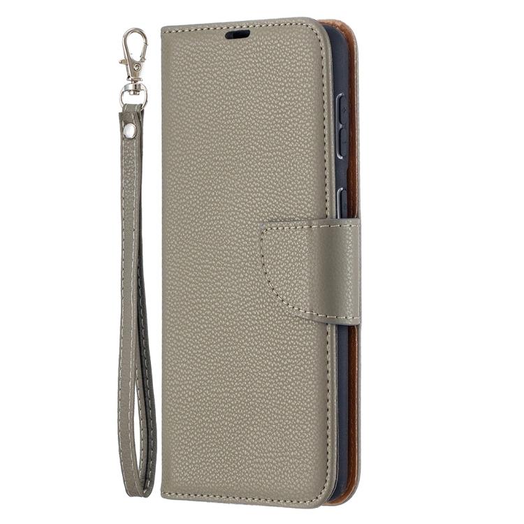 Чехол-книжка серый Litchi Texture на Samsung Galaxy S21 Plus