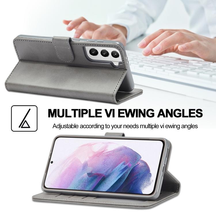 Серый чехол-книжка со слотами LC.IMEEKE Calf Texture на Samsung Galaxy S21 Plus
