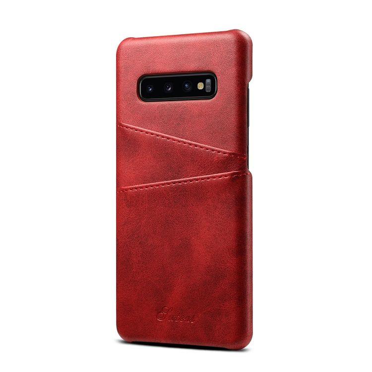 Кожаный чехол Fierre Shann Retro Oil Wax Texture на Samsung Galaxy S10 Plus- красный
