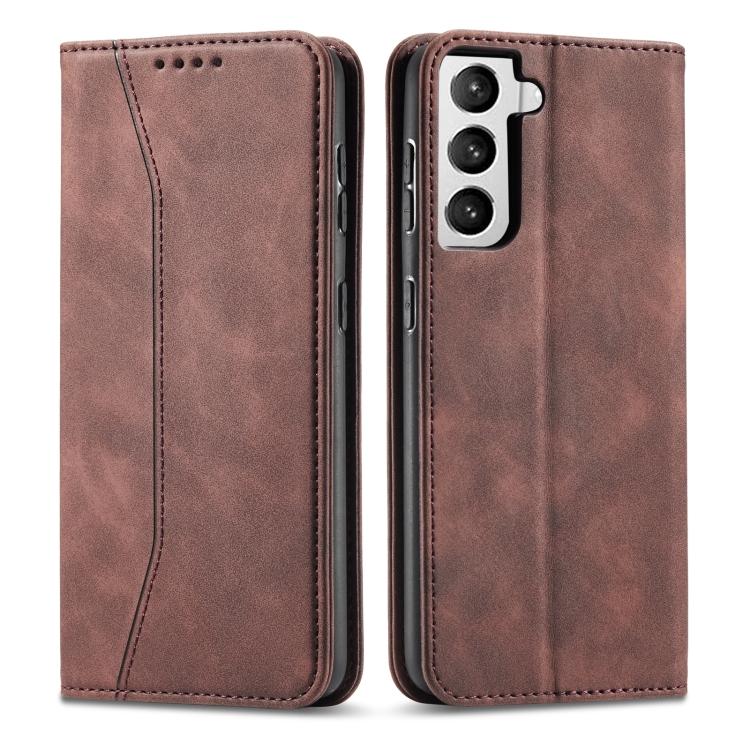 Коричневый чехол-книжка Magnetic на Samsung Galaxy S21