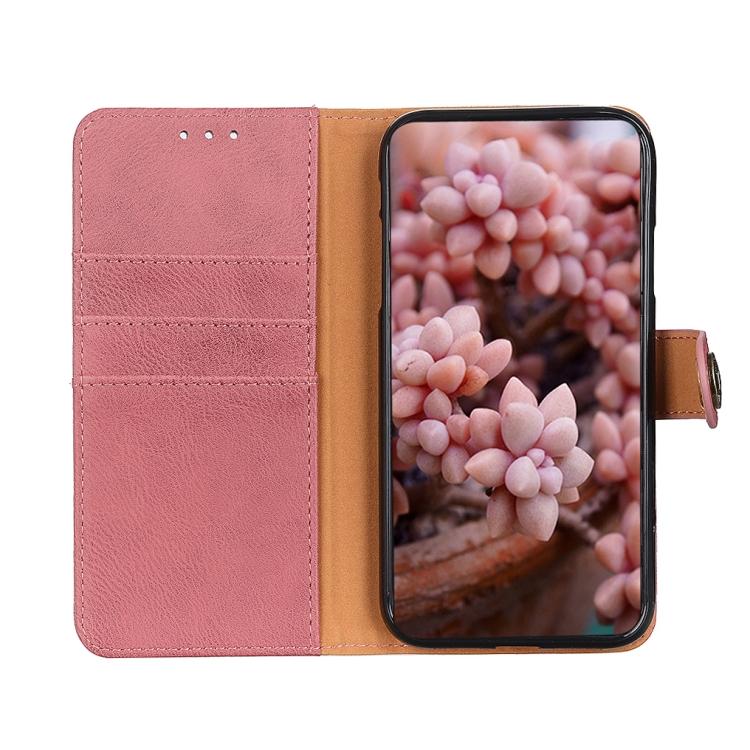 Чехол-книжка KHAZNEH Cowhide Texture на iPhone 12/12 Pro  - розовый