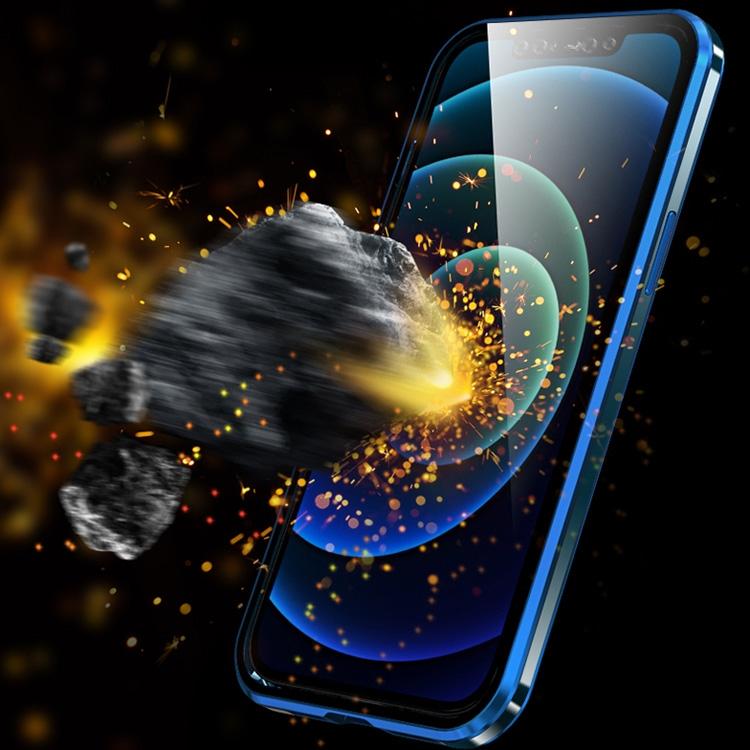 Двухсторонний магнитный чехол Electroplating Frame для Айфон 12 / 12 Про - красный