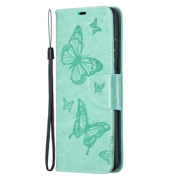 Зеленый чехол-книжка Butterflies на Samsung Galaxy S21 Ultra