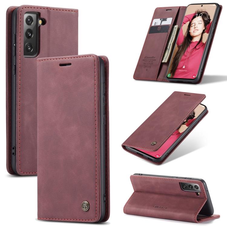 Чехол-книжка CaseMe 013 Series для Samsung Galaxy S21 FE - винно-красный