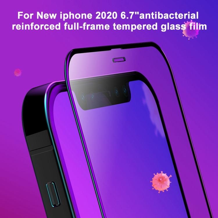 Защитное антибактериальное стекло MOMAX Anti-bacterial Reinforced на iPhone 12 Pro Max - черное
