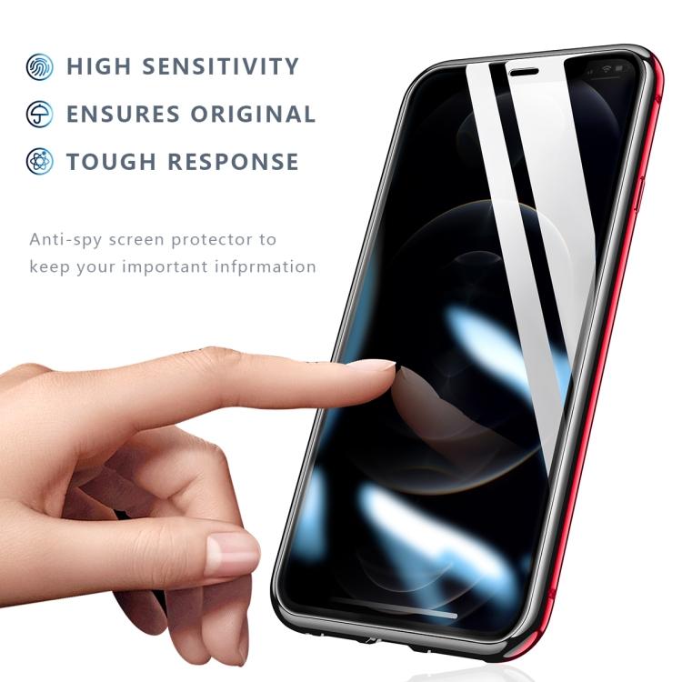 Двухсторонний стеклянный магнитный чехол R-JUST Four-corner для iPhone 12 / 12 Pro - красный