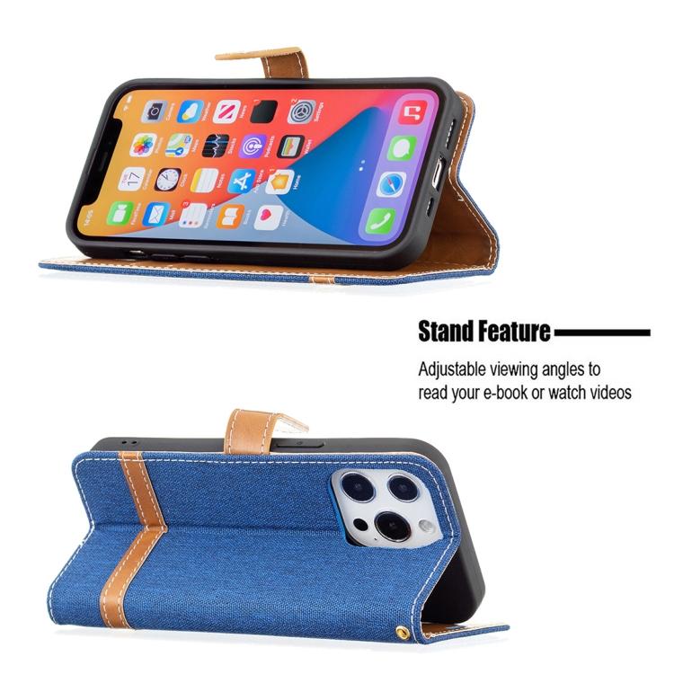 Тканевой чехол-книжка синего цвета с подставкой на Айфон 13
