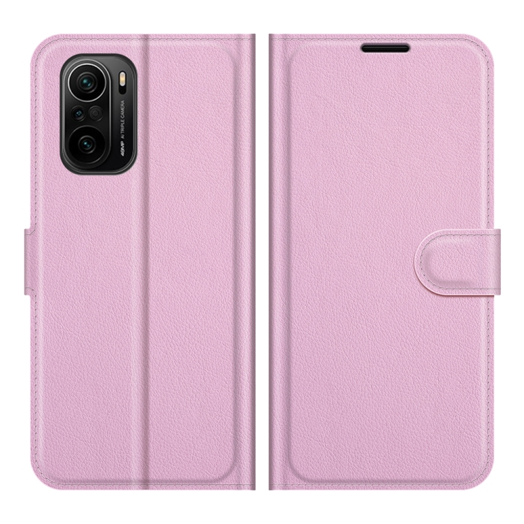 Розовый чехол-книжка Litchi Texture для Xiaomi Mi 11i/Poco F3/Redmi K40/K40 Pro