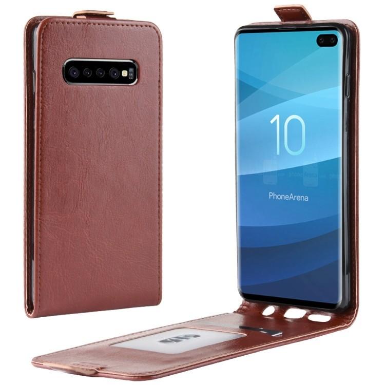 Кожаный флип-чехол Business Style на Samsung Galaxy S10 Plus/G975-коричневый