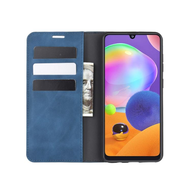 Чехол- книжка Retro Skin Feel Business Magnetic на Самсунг A31 - синий