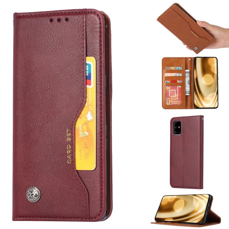 Чехол-книжка винно-красного цвета Knead Skin Texture на Samsung Galaxy A51