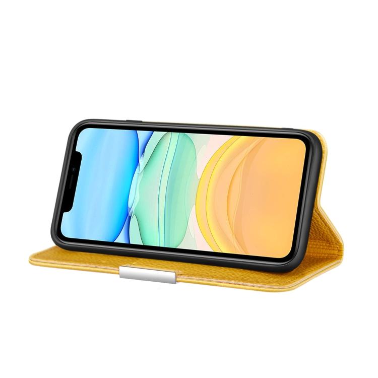 Желтый чехол-книжка со слотами для Айфон 12 Мини
