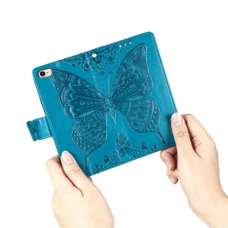 Чехол-книжка Butterfly Love Flower Embossed на Айфон SE 2 2020/7/8 - синий