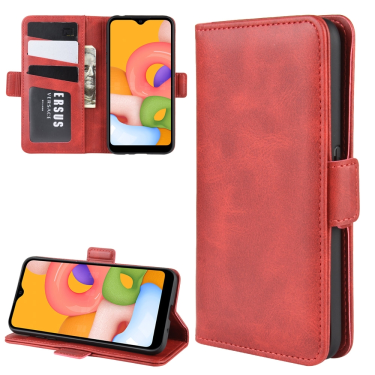 Чехол-книжка Dual-side Magnetic Buckle для  Samsung Galaxy A01 - красный