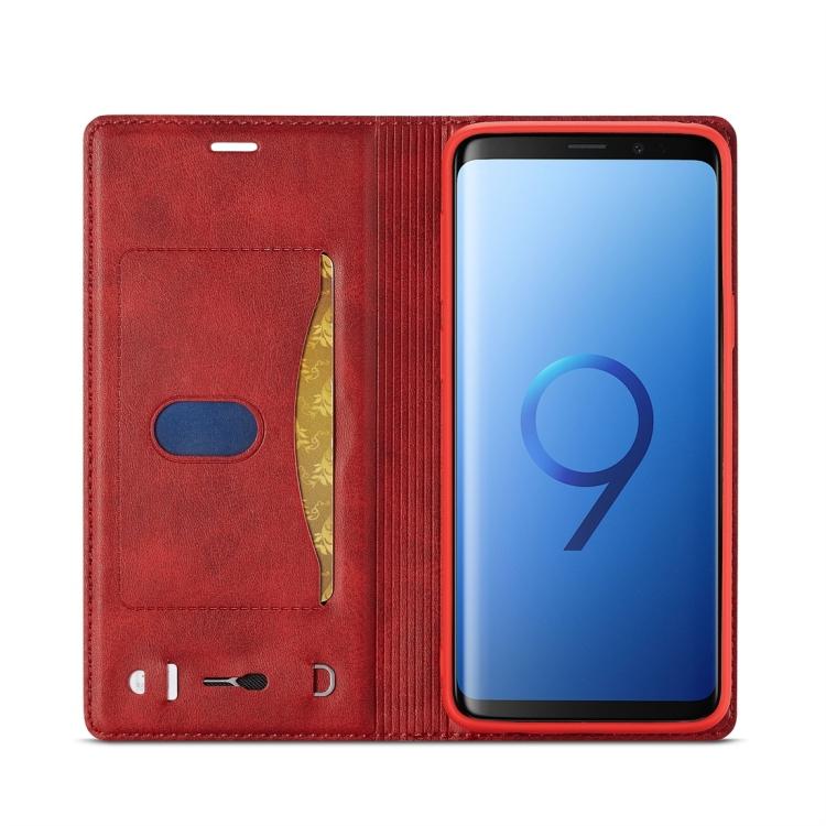 Чехол-книжка с слотами под кредитки на Самсунг Гелекси С9 красного цвета