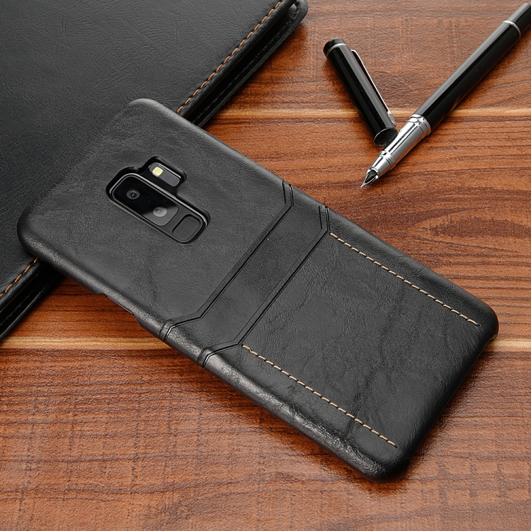 Кожаный чехол на Самсунг Галакси S9 / G960 черного цвета с внешним слотом