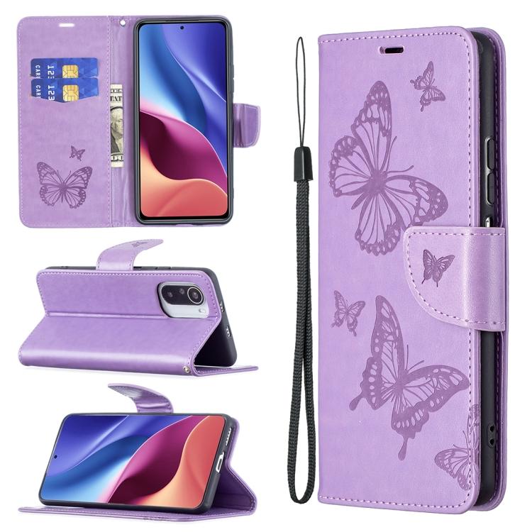 Чехол-книжка Purple Butterflies  для Xiaomi Mi 11i/Redmi K40/Xiaomi Poco F3/K40 Pro
