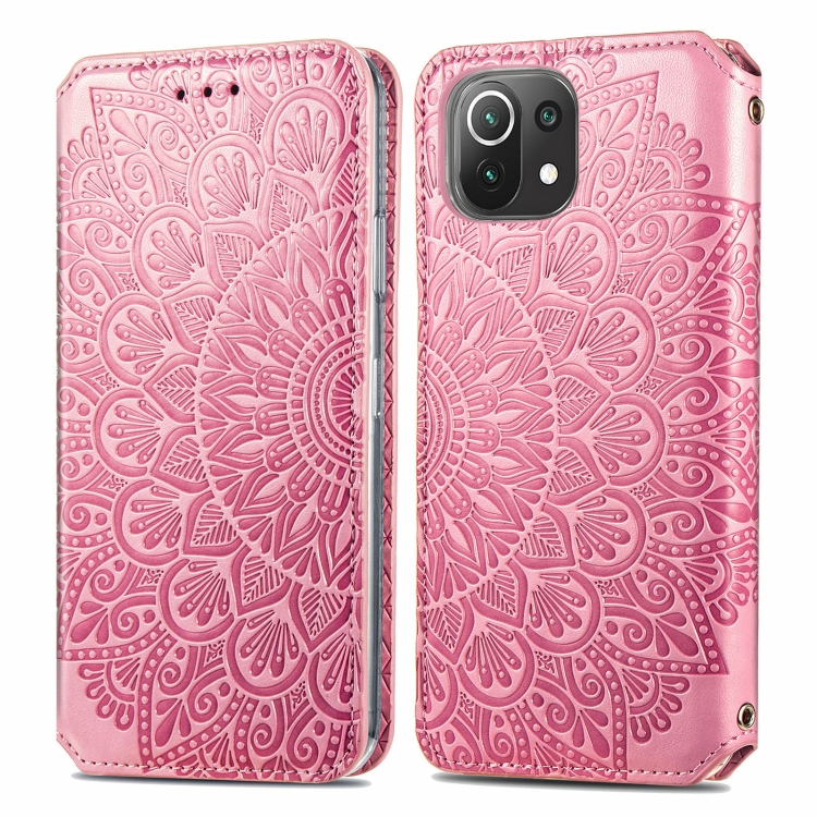 Розовый защитный чехол-книжка для Сяоми Ми 11 Лайт