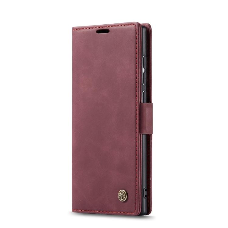 Кожаный чехол-книжка для Самсунг Гелекси Нот 10 Лайт винно красного цвета
