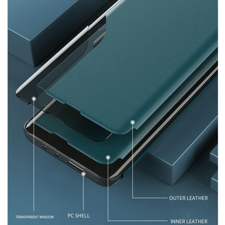 Кожаный защитный синий чехол-книжка для Самсунг Гелекси А52