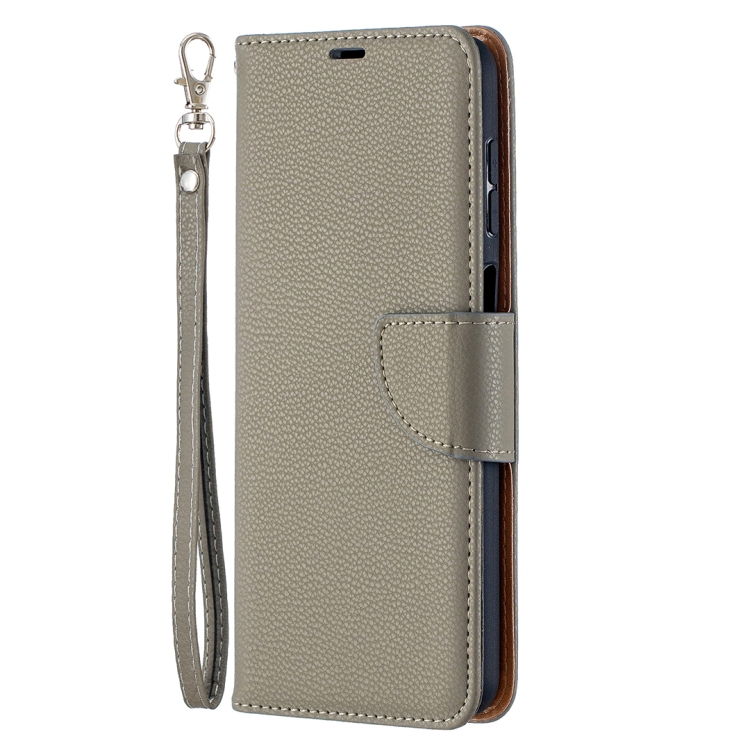Чехол-книжка Litchi серого цвета на Samsung Galaxy A12/M12