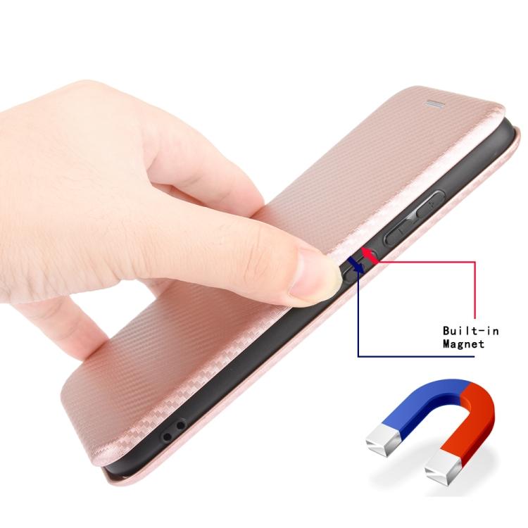 Чехол-книжка Carbon Fiber Texture на Айфон 12 Про - розовый