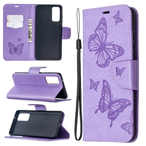 Чехол фиолетовый с бабочками для Самсунг Гелекси С20 ФЕ