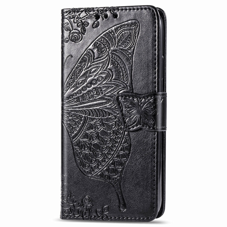 Чехол-книжка Butterfly Love Flowers Embossing на Samsung Galaxy Note10 Lite / A81 / M60s -черный