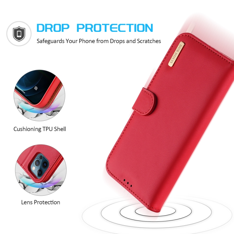 Противоударный чехол-книжка красного цвета для Айфон 12 Про Макс