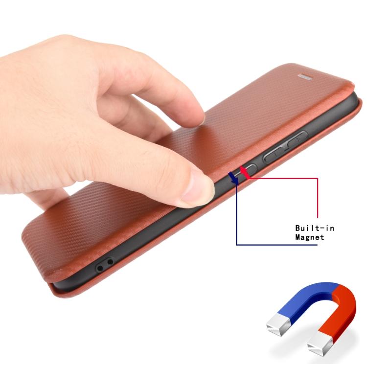 Чехол-книжка Carbon Fiber Texture на Айфон 12 Мини - коричневый