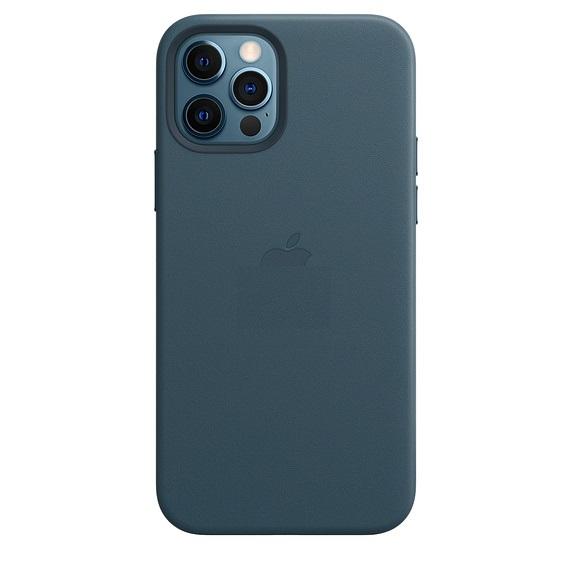 Кожаный чехол накладка синего цвета на Айфон 12 Про Макс