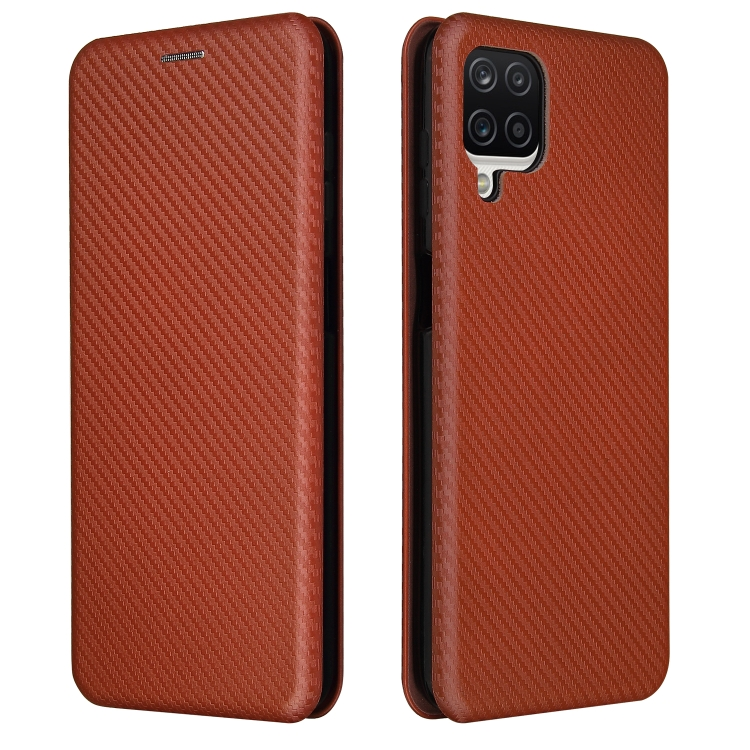 Чехол-книжка Carbon коричневого цвета на Samsung Galaxy A12 / M12