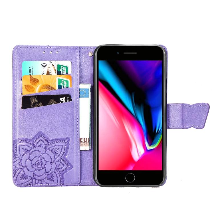 Чехол-книжка Butterfly Love Flower Embossed на iPhone SE 2 2020/7/8 - фиолетовый