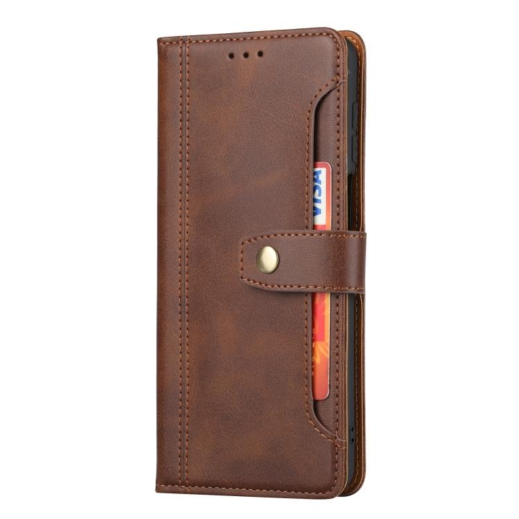 Коричневый кожаный чехол-книжка для Сяоми Редми Нот 9 Про