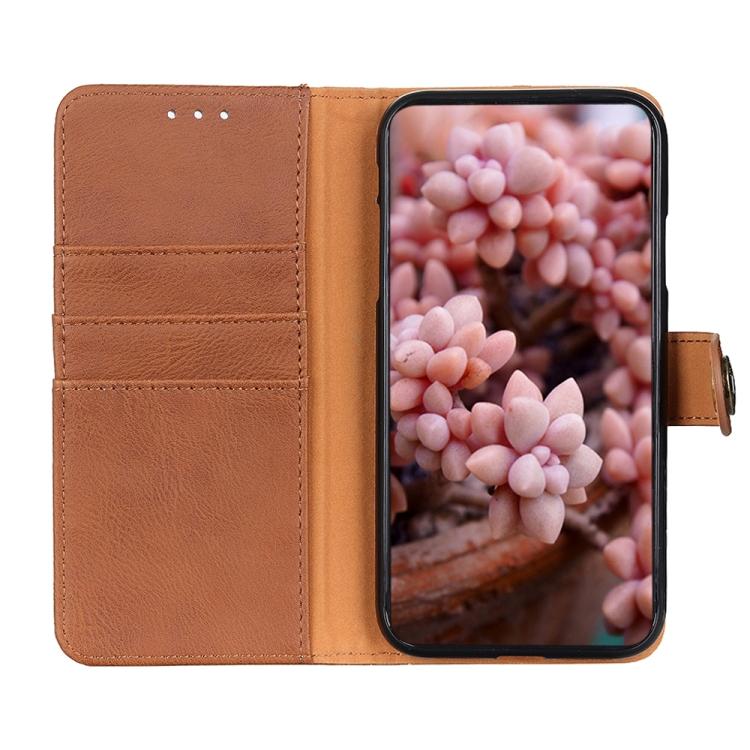 Чехол-книжка KHAZNEH Cowhide Texture на Samsung Galaxy A21s - коричневый