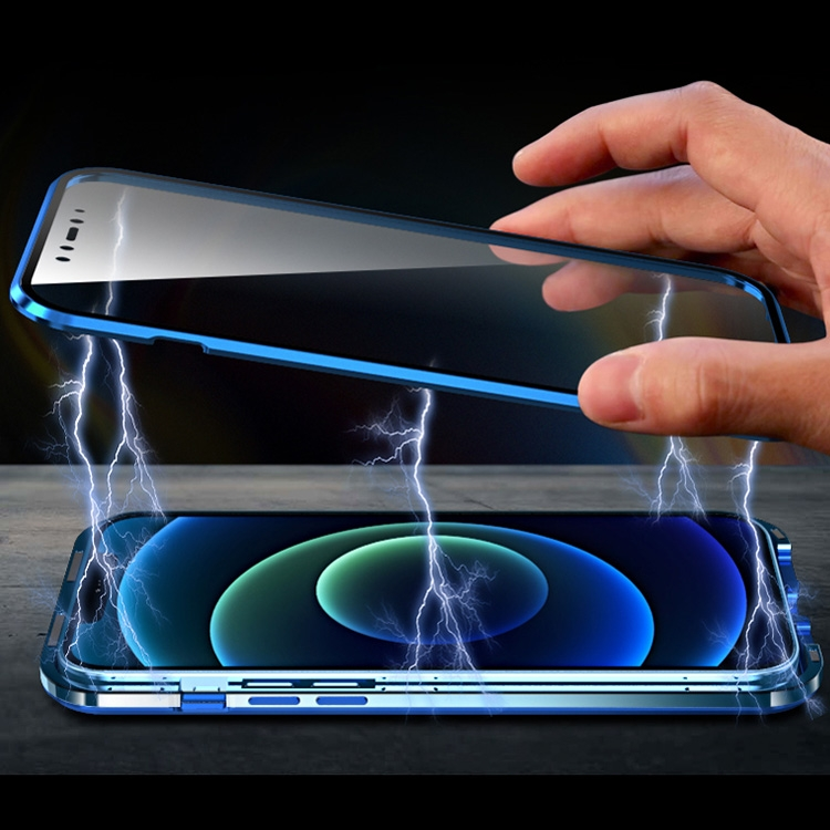 Магнитный ударостойкий синий чехол-книжка для Айфон 12