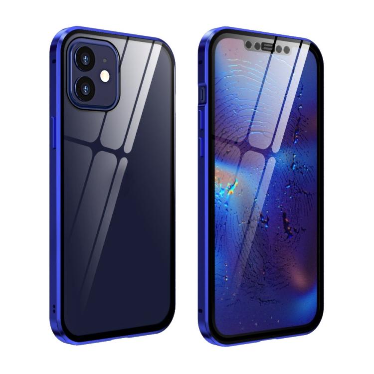 Двухсторонний магнитный чехол Adsorption Metal Frame для iPhone 12 mini - сине-фиолетовый