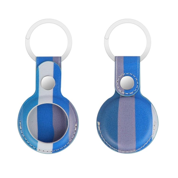 Кожаный брелок Rainbow с кольцом для AirTag - синий