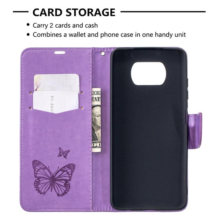 Фиолетовый чехол-книжка со слотами для карт на Сяоми Поко X3 Про