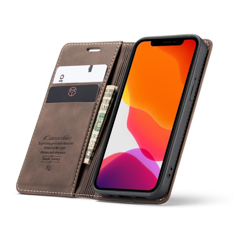 Кожаный чехол CaseMe-013 Multifunctional на iPhone 12 Mini - кофейный