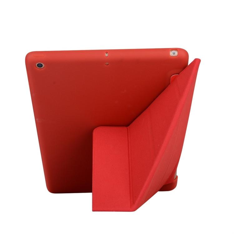 Чехол- книжка Solid Color Trid-fold  Deformation Stand на iPad 8/7 10.2 (2019/2020) -красный