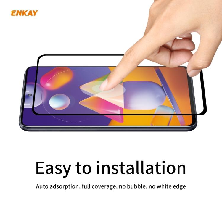 3d защитное стекло ENKAY Hat-Prince Full Glue 0.26mm 9H на Samsung Galaxy M31s -черное