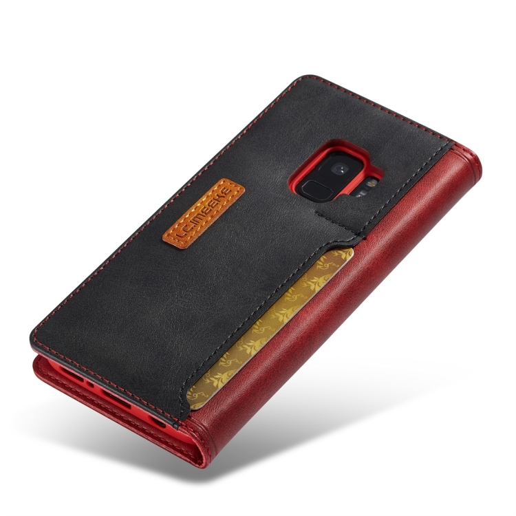 Ударостойкий чехол-книжка с слотами под кредитки на Самсунг Гелекси С9 Плюс красного цвета