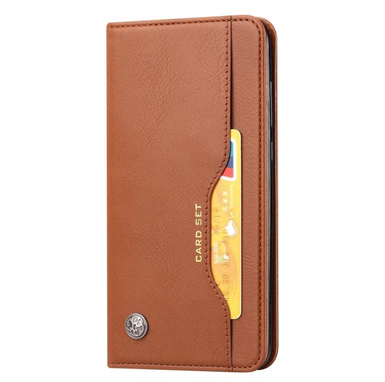 Чехол-книжка Knead Skin Texture на Samsung Galaxy Note 20 - коричневый