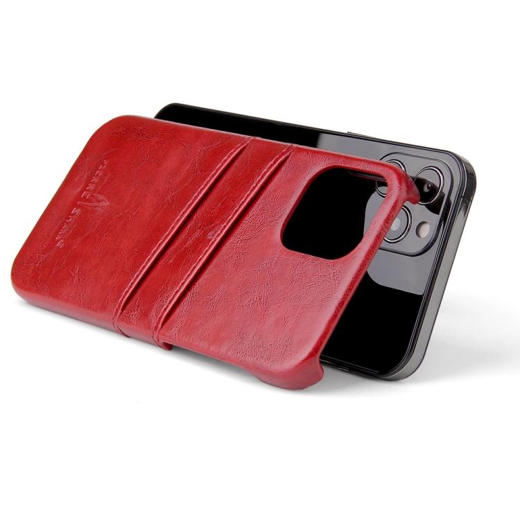 Кожаный чехол на Айфон 12/12 Pro - красный