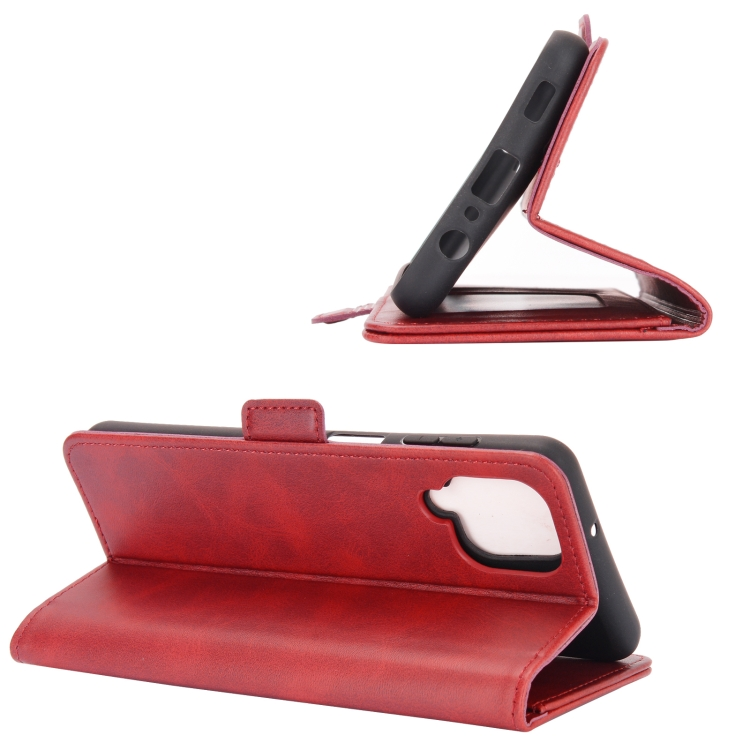 Чехол-книжка с складной подставкой красного цвета для Самсунг Гелекси А12