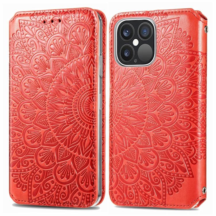 Чехол-книжка Blooming Mandala для iPhone 13 Pro - красный